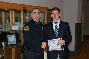 Saved By the Belt Award Recipient Brendan Wright and Chief Michael Peraino