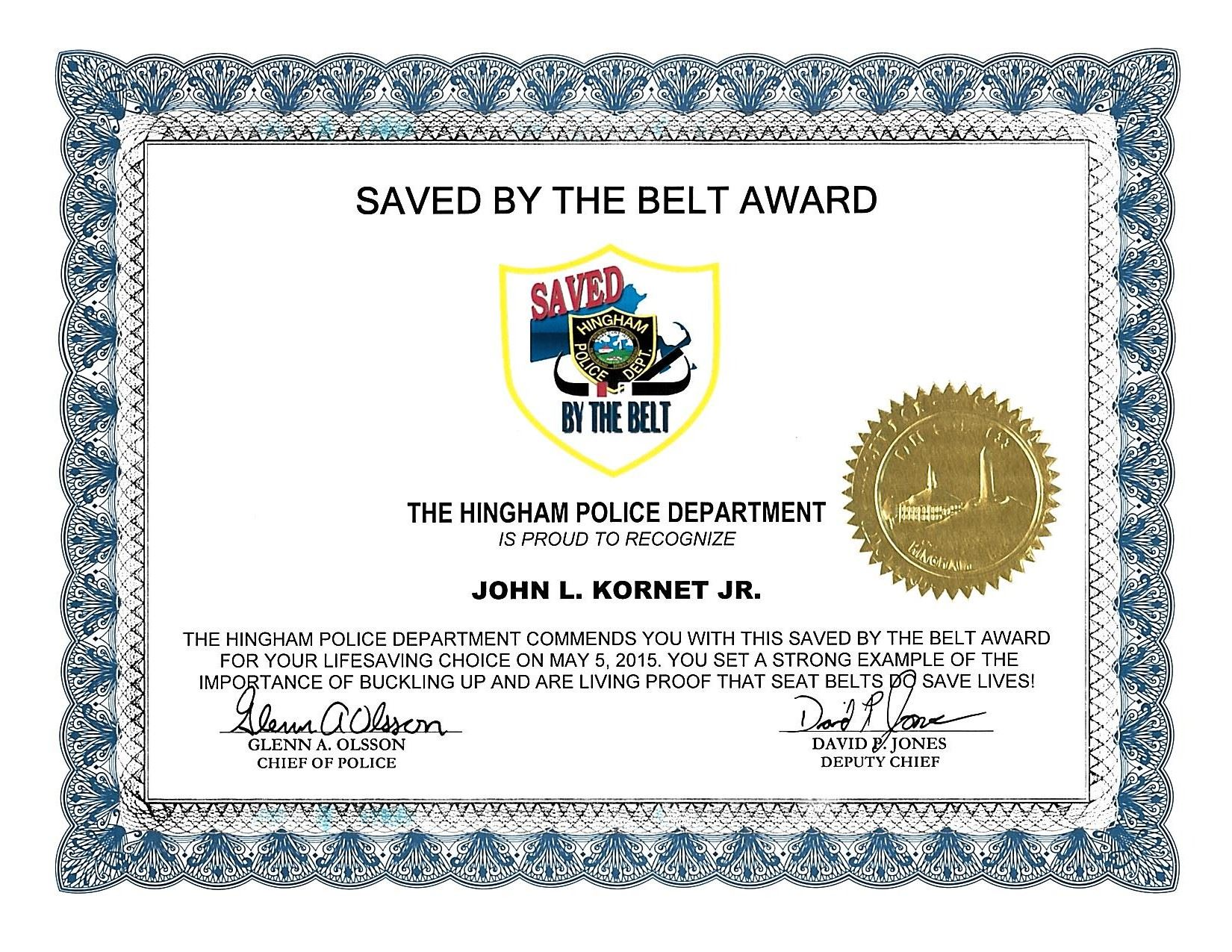 Saved By the Belt Award Certificate